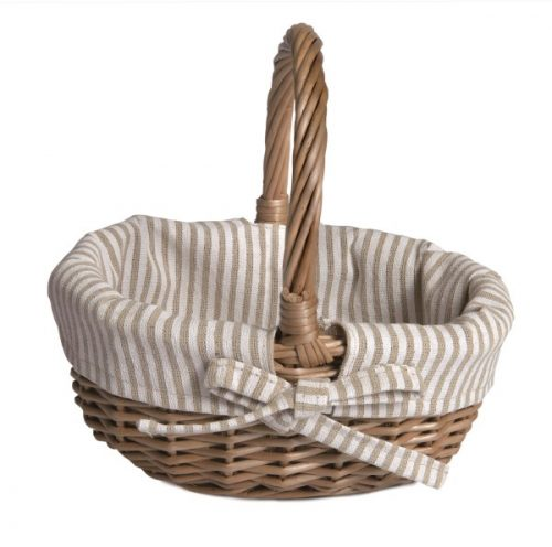 BASKET WITH WHITE & BEIGE FABRIK