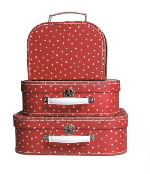 Egmont Suitcase Set of 3  Red with White Spots