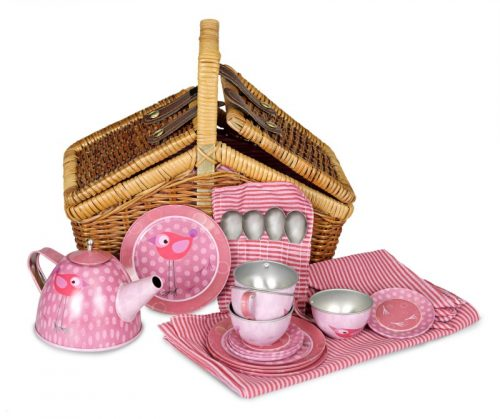 TIN TEA SET BIRD IN A WICKER BASKET
