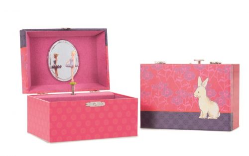 MUSICAL JEWELRY BOX FLOWER RABBIT