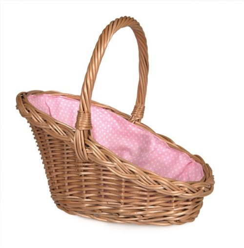 Wicker carry basket  lined