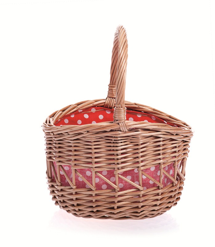 Wicker Small Round Basket with Red & White Spotty Lining