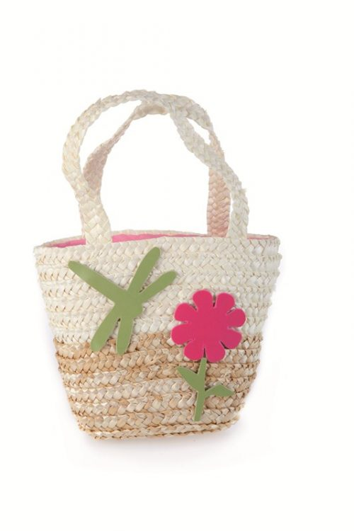 STRAW SHOPPING BAG  Natural with Dragonfly
