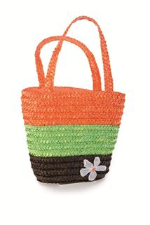 STRAW SHOPPING BAG  Brown Green Orange