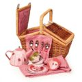 Wicker Basket Tin Tea Set  Ladybug