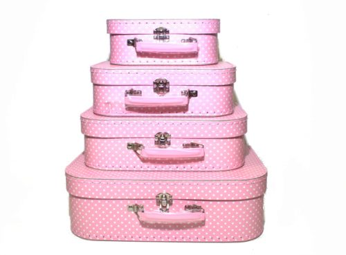 Set of 4 Suitcases Pink with White Spots
