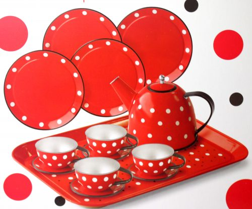 TEASET, TIN, RED POLKADOT