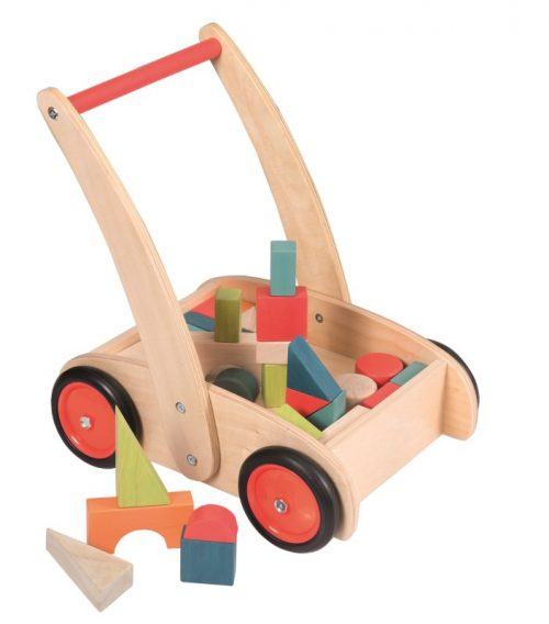 PUSH ALONG TRUCK & WOODEN BLOCKS