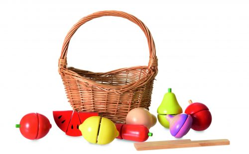 WOODEN FRUIT AND VEGETABLE SET IN A BASKET 3