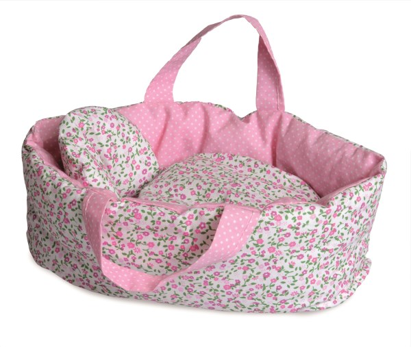Carry Cot with Flower Print Bedding