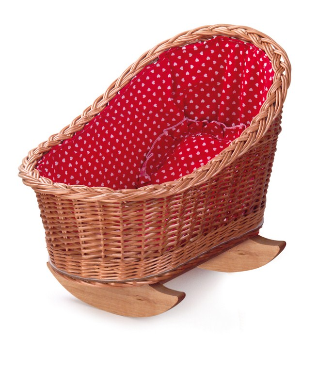 CRADLE WITH RED & WHITE HEARTS LINING 520100