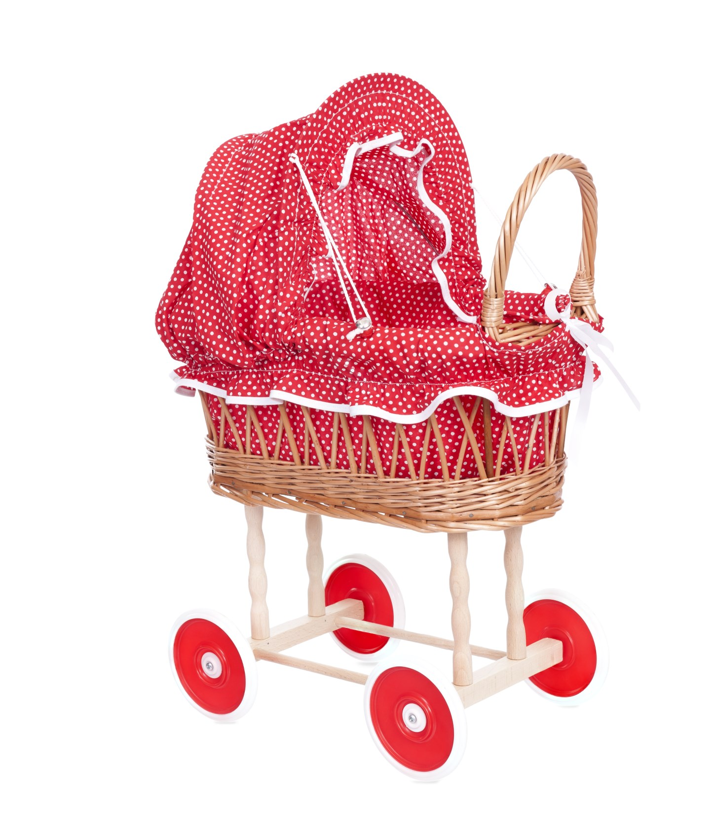 WICKER PRAM, RED & WHITE DOTS. 520058