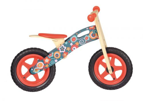 EGMONT WOODEN BALANCE BIKE WITH PINK FLOWERS