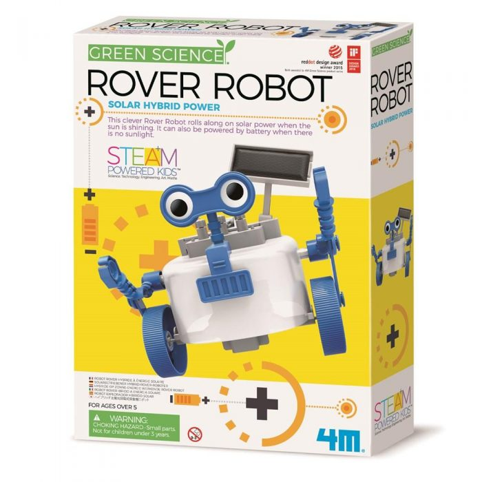 Little engineers can build their own robot that really works by assembling the solar kit. 4M Rover Robot rolls with solar power when the sun shines at daytime. He is also battery powered so kids can use him when there is no sunlight.