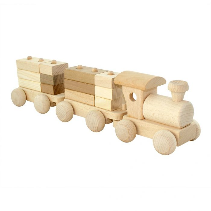This adorable wooden train set from Jasio toys allow children to learn while stacking all the different blocks onto the cargo carriages.