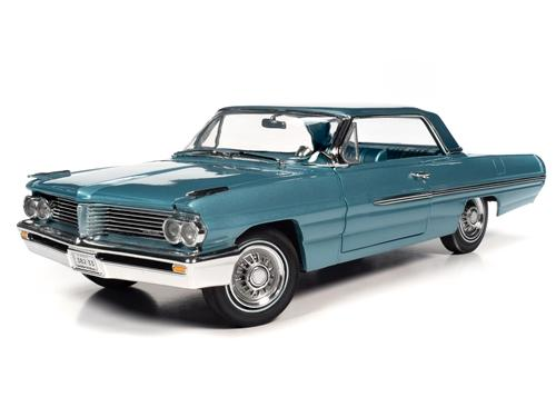 1962 Pontiac Royal Bobcat Catalina in Aquamarine is a diecast model car with a detailed engine, exterior and interior.