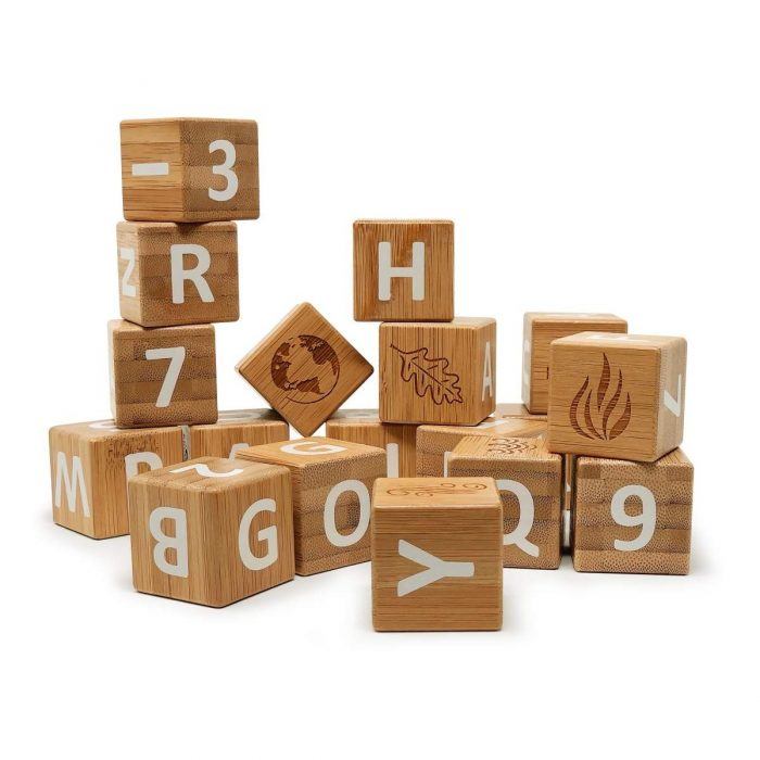 Each set contains 18 bamboo blocks printed with letters and numbers, plus symbols representing 4 elements of the earth and 4 seasons of the year.