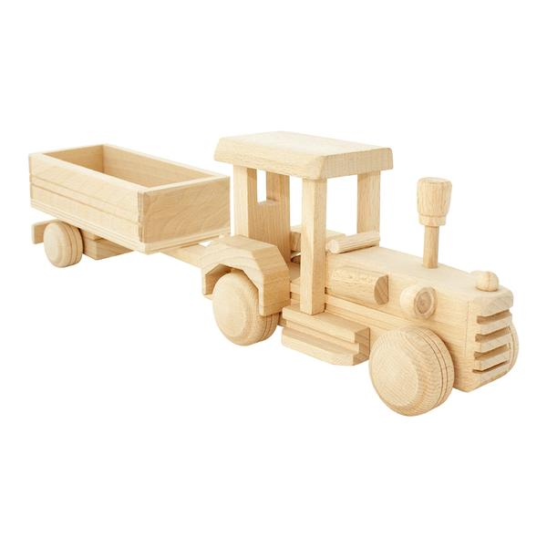 Bartu wooden toy tractor is perfect for filling up the big trailer with farm animals, hay and anything else they can get their little hands-on.